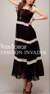 NEW Designer Inspird Black and White Chiffon Maxi Dress