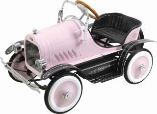GIRLS PINK RETRO VINTAGE STYLE ROADSTER RIDE ON PEDAL CAR TOY