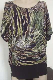 New Claudia Richard Womens Plus Size Clothing 1X 2X Black Shirt Top