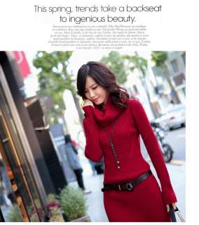 New Soft Korea Womens Slim Style Knitted Sweater Long Sleeve Dress 4