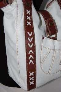 Lucky Brand 1968 Leather Tote Bag Messenger Sac White