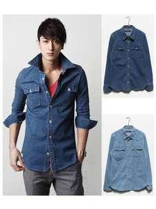 Slim Fit Trendy Casual Long Sleeve Denim Shirt Jacket Dark/Light Blue