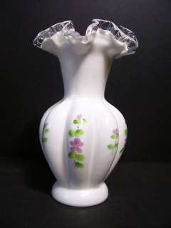 Fenton Lilac Melon Vase Hand Painted Hand Blown, Signed