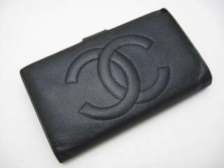 Auth. Chanel Black Caviar Leather Long Wallet