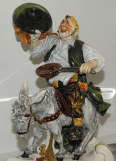 Signed Capodimonte Porcelain Figure Sancho Panza on a Donkey