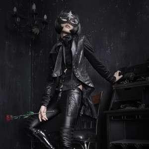 Mantel Kostüm Gothic V Kei Punk Rave schwarz Frack Bünnenoutfit