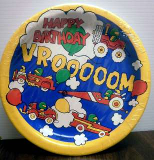 VROOM CARS AND TRUCKS HAPPY BIRTHDAY DINNER PLATES
