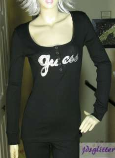 GUESS Pam Black with Sequence Logo Long Sleeve Top NWT