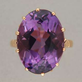 REDDISH PURPLE OVAL POLISHED AMETHYST 14K ROSE GOLD 1940s RING