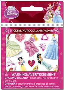 PRINCESS VALENTINES DAY Bitty Bits STICKERS Party FAVORS 8 sheets