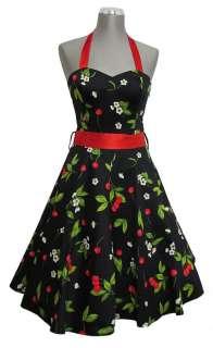 Black Red Cherry Rockabilly 1950s Prom Halter Dress