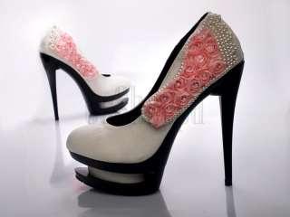 Perlen Dual Plateau Stiletto Pumps High Heels Damen Schuhe Platform