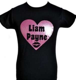 LOVE LIAM PAYNE~ONE DIRECTION/1D BLACK KIDS T SHIRT with PINK GLITTER