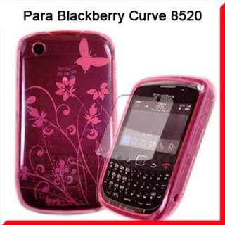 TPU Funda Silicona Para Blackberry Curve 8520+Protector