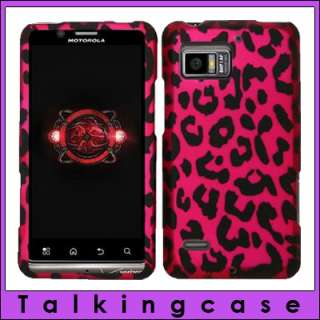 Black Leopard Rose Pink Texture Hard Case Cover Motorola Droid