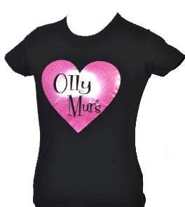 OLLY MURS KIDS BLACK T SHIRT with PINK GLITTER AGE 5 15