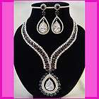 Wedding Party Bridal Purple Diamante Crystal Necklace Earrings Set