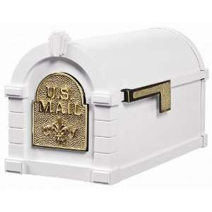 Gaines Fleur de Lis Series Keystone Mailbox in White
