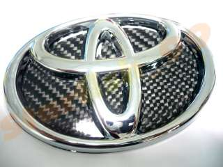 12CM JDM REAL 3D GLOSSY CARBON FIBER BACKING CHROMED TOYOTA EMBLEM