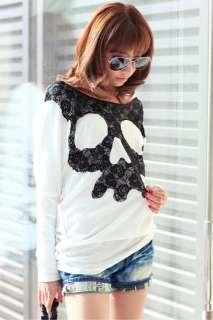 Fashion Girls Skull Letter Printing T shirt Womens Clothes M7