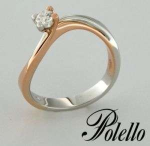 POLELLO SOLITARIO ORO BIANCO E ROSA 18 kt CON DIAMANTE  