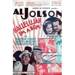 Inches   28cm x 44cm Al Jolson Madge Evans Frank Morgan Harry Langdon