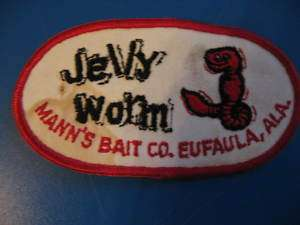 VINTAGE JELLY WORM MANNS BAIT CO. BASS FISHING PATCH