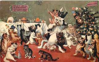 LOUIS WAIN A MERRY CHRISTMAS CAT PARTY TUCK S00385