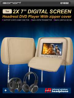 DIGITAL HEADREST MONITOR LCD SCREEN CAR DVD PLAYER USB SD DIVX