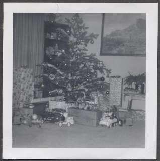 Vintage Photo Christmas Tree w/ Ornaments Tonka Trucks & Pull Toys