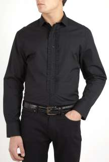 PS Paul Smith  Black Frill Placket Dress Shirt by PS Paul Smith