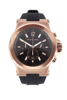Michael Kors Watches  Large Black and Rose Gold Silicone Chronograph