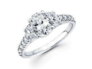 Semi Mount Three Stone Oval Diamond Ring 14k White Gold