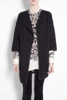 Grey Leather Trimmed Cardigan Coat by Vince