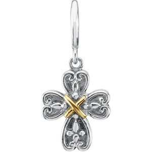 14K Yellow Gold Sterling Silver Cross Charm Pendant   18mm Jewelry
