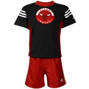 adidas Chicago Bulls Toddler Black T shirt & Shorts Set