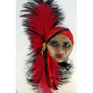 African American Lady Porcelain Feather Face Wall Art Mask