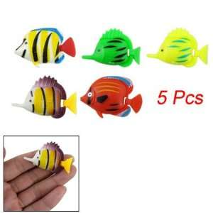 Aquarium 5 Pcs Multicolor Plastic Tropical Fish Decor: Pet Supplies
