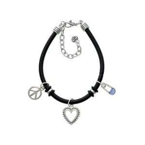Baby Safety Pin Black Peace Love Charm Bracelet Arts, Crafts & Sewing