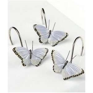 Gold Butterfly Shower Curtain Hooks Set Of 12 Metal Butterflies