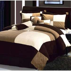 and Beige Micro Suede Comforter Set Bed in a bag KING Size Bedding