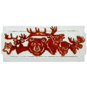 : Bear Elk Moose Buffalo Deer Wolf Glass Serving Tray: Home & Kitchen