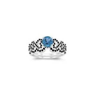 Cts Swiss Blue Topaz Matching Ring Set in 14K White Gold 6.5 Jewelry
