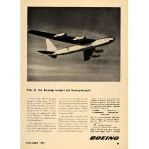 1952 Ad Boeing Aircraft B 52 Jet Aviation Engineering