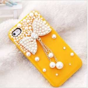New Diamond Pearl Bow,pearl Pendants Drill Shell,hard Case for Iphone4