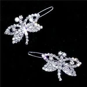 Flower Girl Wedding Barrette Dragonfly Swarovski Crystal Bridal Hair