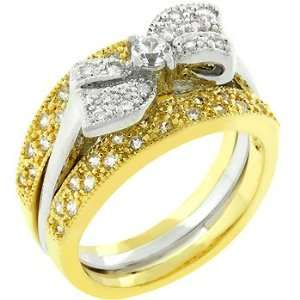 14k Gold Silver Bridal Set CZ Bow Ring Jewelry
