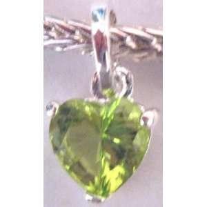 Dangle Fits Pandora Lime Green Heart Shape Stone (3)