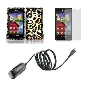 LG Lucid (Verizon) Premium Combo Pack   Black and Gold Cheetah Animal