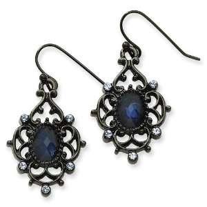 Black plated Lt. & Dk Blue Crystal Drop Earrings Jewelry